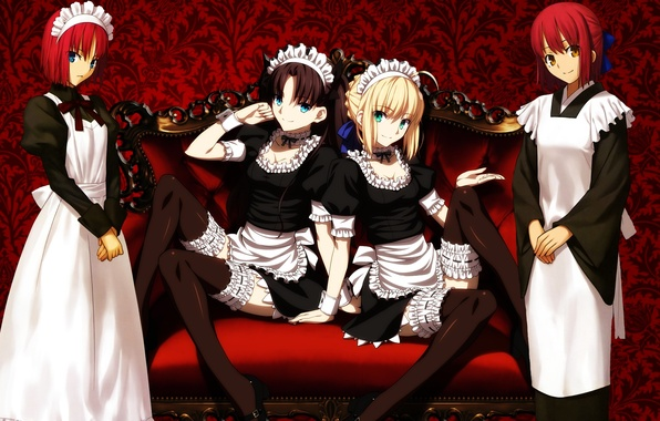 Picture Red, Anime, Girls, Saber, Fate stay night, Type-Moon, Tsukihime, Hisui, Kohaku, Maids, Rin Tohsaka