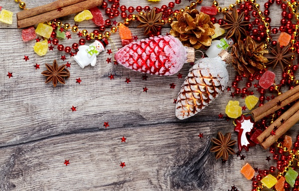Picture winter, toys, New Year, Christmas, cinnamon, Christmas, bumps, New Year, spices, Anis