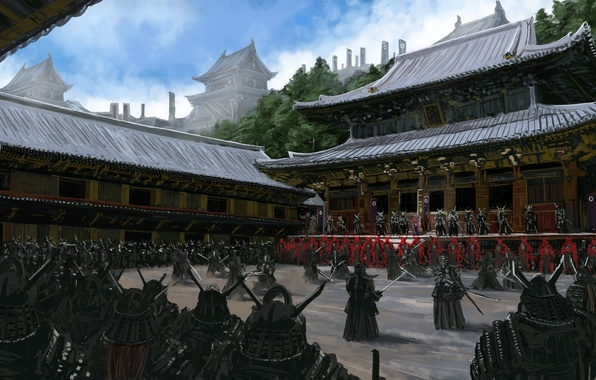 Picture weapons, people, Asia, army, warrior, art, samurai, yard, temple, armor, training