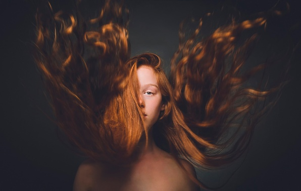 Picture look, the wind, hair, girl, redhead, stroke