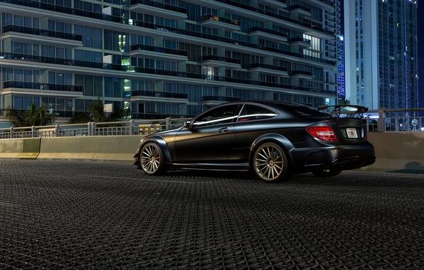 Picture Mercedes-Benz, black, AMG, rear, C63, C-Class