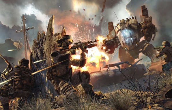 Picture the explosion, war, the game, robot, soldiers, shooting, warface