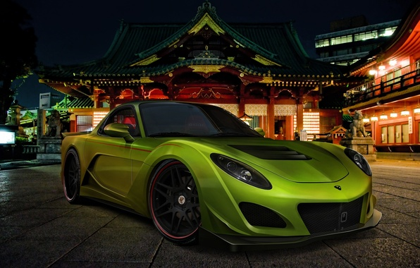 Picture car, machine, auto, night, green, street, Mazda, Japan, Mazda, night, green, street, RX-7, avto, RKH-7
