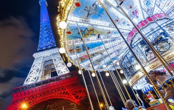 Picture France, Paris, Eiffel tower, carousel, Paris, France, Eiffel Tower
