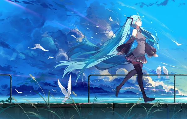 Picture the sky, girl, clouds, birds, nature, smile, anime, art, form, vocaloid, hatsune miku, haraguroi you