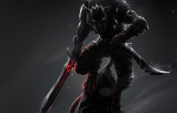 Picture cat, weapons, magic, stone, monster, sword, art