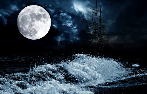 Picture sea, night, the moon, wave, ship, sailboat