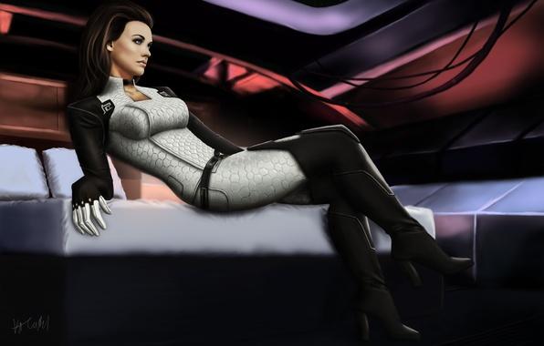 Picture girl, bed, art, mass effect, cabin, miranda lawson, Cerberus, Miranda, cerberus