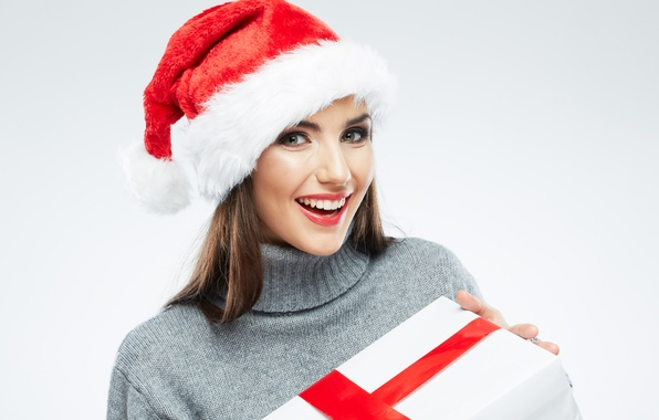 Picture look, girl, smile, box, gift, brown hair, cap, sweater