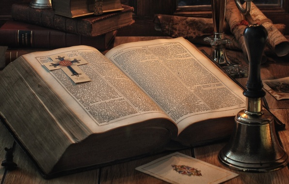 Picture book, bell, page, The Bible, folio