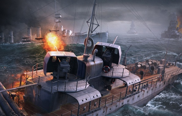 Picture The sky, Water, Clouds, Wave, Fire, Ship, Ships, Flame, Shot, Wargaming Net, WoWS, World of …
