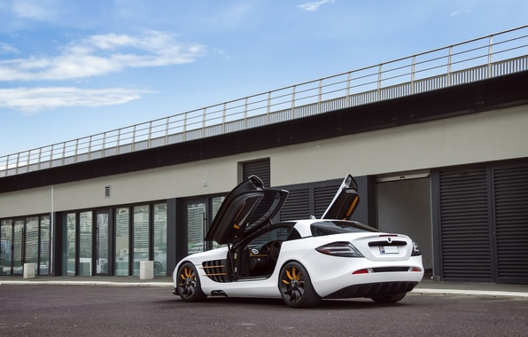 Picture white, the sky, clouds, Mercedes-Benz, white, back, CPR, Mercedes Benz, Gemballa GT, SLR Mclaren