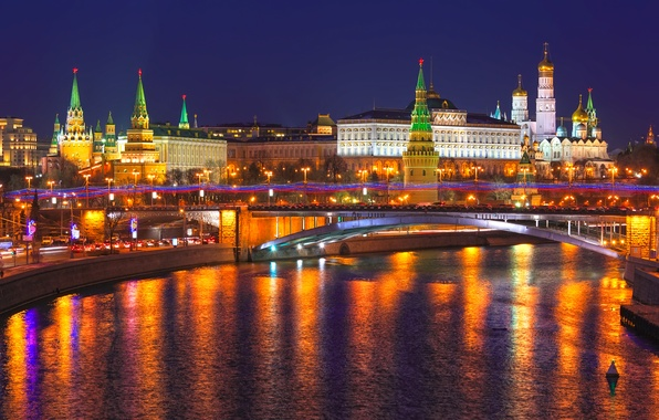 Picture night, city, lights, reflection, river, Moscow, The Kremlin, Russia, Russia, Moscow, Kremlin