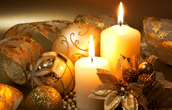 Picture balls, decoration, flowers, tape, holiday, balls, patterns, candles, New Year, Christmas, the scenery, gold, candle