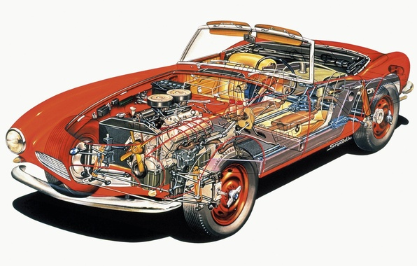Picture background, engine, convertible, red, BMW 507