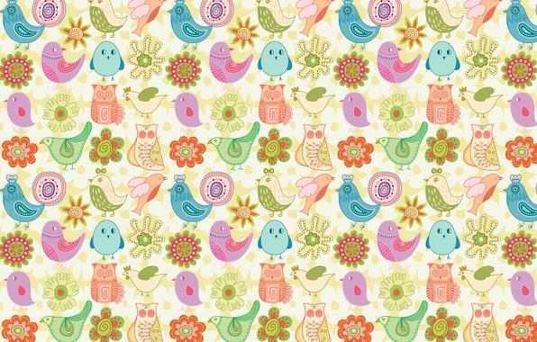 Picture flowers, birds, children