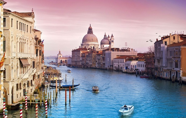 Picture the sky, water, the city, building, channel, Venice, Italy, italy, venice