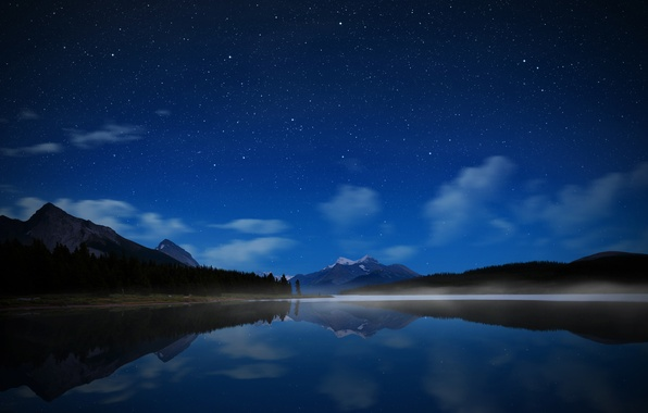 Picture the sky, water, stars, mountains, night, lake, Canada, Park Jasper