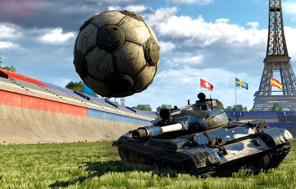Picture grass, abstraction, background, victory, the ball, art, blow, tank, Eiffel tower, sports, green, arena, beautiful, …