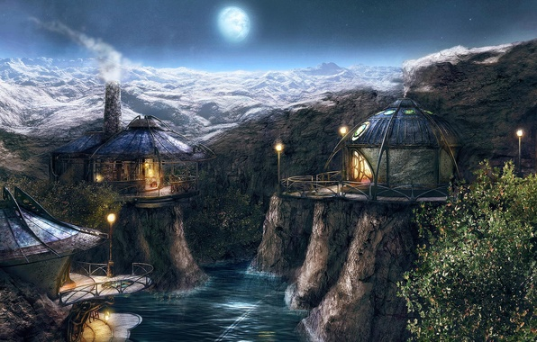 Picture mountains, river, the moon, Village, Myst 4