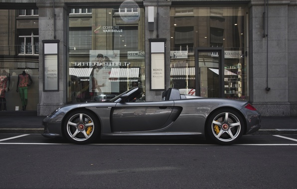 Picture street, silver, Porsche, silver, supercar, Porsche, shop, street, carrera, store