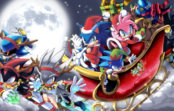 Picture night, holiday, the moon, new year, Christmas, gifts, Sonic, Silver, Amy Rose, Sonic the Hedgehog, …