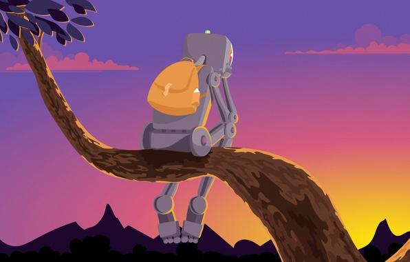Picture sunset, tree, robot, traveler, sitting, backpack, tourist, Igor Izhik, pattern Design