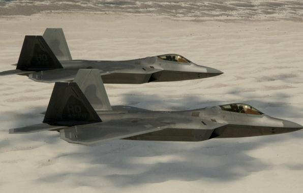 Picture Sand, Photo, Desert, Flight, Fighter, Height, Raptor, F-22, Raptor, Multipurpose, Lockheed/Boeing