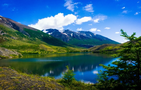 Picture mountains, lake, Chile, Chile, Patagonia, Patagonia, Torres del Paine National Park, Torres del Paine