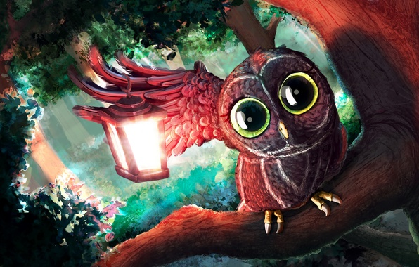 Picture forest, look, light, trees, branches, owl, art, lantern, painting