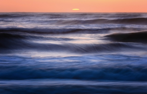 Picture the sky, water, the sun, sunset, blue, the ocean, the evening, horizon, CA, surf, USA, …