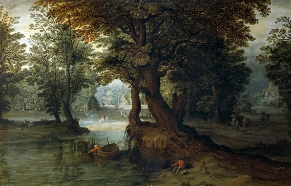 Picture forest, trees, landscape, house, boat, picture, fisherman, Jan Brueghel the younger, Forest Lake