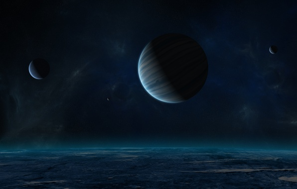 Picture night, planet, satellites, gas giant, starry sky