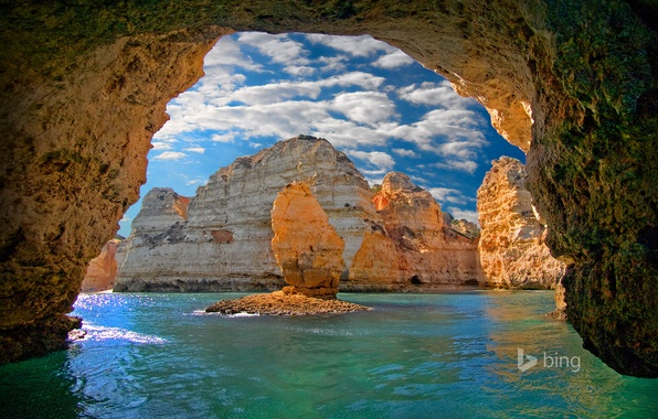 Picture sea, the sky, clouds, rocks, arch, cave, Portugal, the grotto, Lagos, Ponta da Piedade