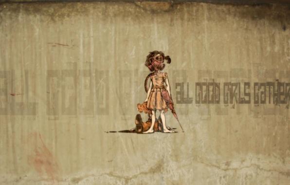 Picture desktop, graffiti, bear, girl