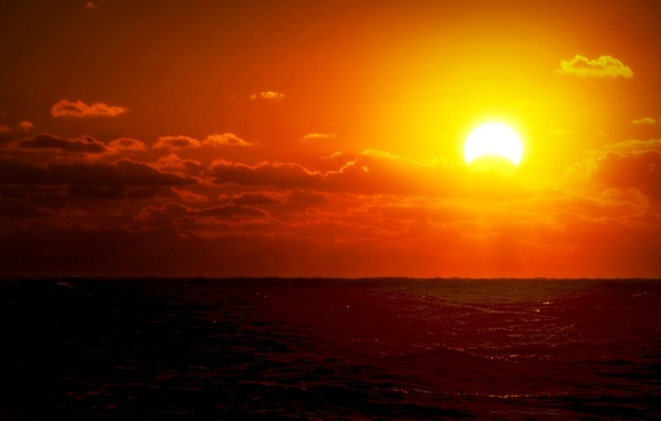 Picture sea, the sky, water, the sun, clouds, landscape, sunset, red, nature, river, background, Wallpaper, wallpaper, …