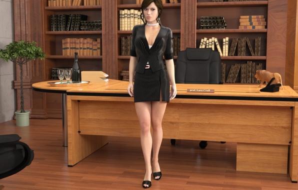 Picture chest, look, girl, feet, skirt, lara croft, tomb raider, office, professor