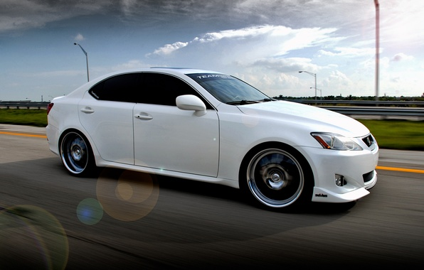 Picture road, clouds, machine, Lexus, white, IS350, road, cars, Lexus, clouds, walls, auto wallpapers, car Wallpaper, ...