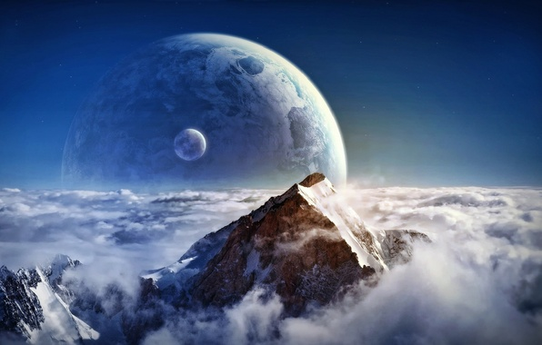 Picture space, clouds, planet, height, mountain, satellite, peak