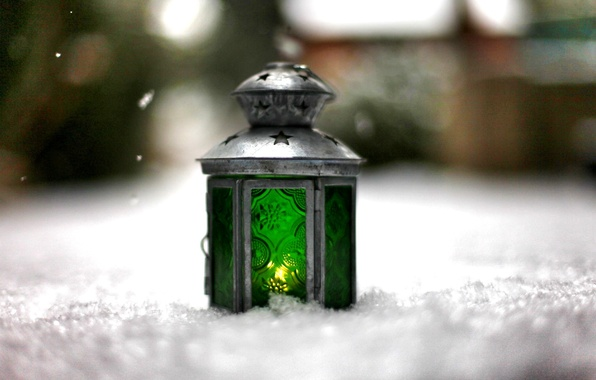 Picture winter, light, snow, green, background, fire, widescreen, Wallpaper, mood, blur, lantern, wallpaper, widescreen, background, bokeh, …