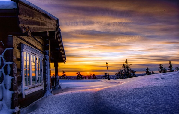 Picture winter, the sky, clouds, snow, trees, sunset, nature, house, hills, Norway, lantern, the snow