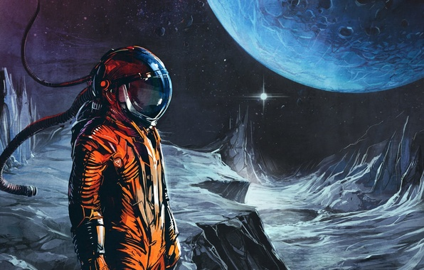Picture orange, music, the moon, planet, astronaut, music, the suit, space, Art, Celldweller, Transmissions vol 02