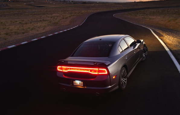 Picture The evening, Road, Machine, Light, Grey, Dodge, Lights, challenger