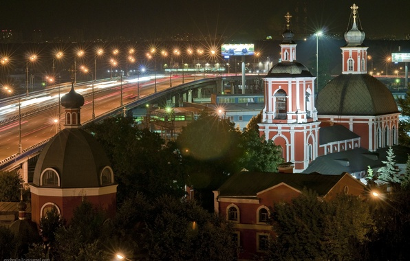 Picture road, lights, Night, Church, Moscow