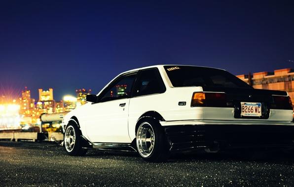Picture white, toyota, corolla, ae86, front, Toyota, Corolla