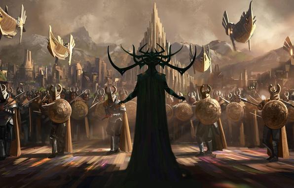 Picture fiction, figure, fantasy, art, warriors, shields, spears, hats, army, Asgard, Thor: Ragnarok, Thor: Ragnarok