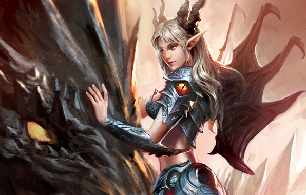 Picture dragon, Girl, armor, horns, pointy ears