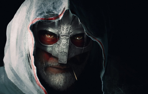Picture look, background, mask, art, hood, male
