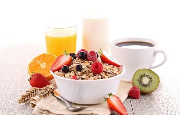 Picture coffee, food, Breakfast, juice, fruit, food, health, muesli