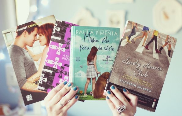 Picture girl, background, Wallpaper, mood, books, hands, books, nails, wallpapers, lacquer, the authors